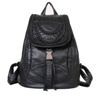 China Luxury Fashion Ladies Backpack Rivet Washed Leather With Weave Decoration wholesale