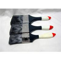 China Black Bristle Flat House Paint Brushes With Lacquered Wooden Handle wholesale