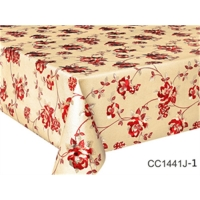 China Polyester Fabric Tablecloth PVC Sheeting Easy To Clean Table Cloth Clear Plastic Table Cover on sale
