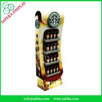China 4 tier paper material paperboard bottle display shelf printed paper racking display stand for starbucks coffee wholesale