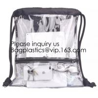 Buy cheap Clear Drawstring Bag - PVC Drawstring Backpack with Mesh Side Pockets for School from wholesalers