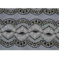 China Breathable Black Elastic Lace Fabric , Wedding Dresses Lace Fabric CY-DK0009 wholesale