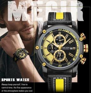 China Wholeale Brand New Megir Men Genuine Leather Band Chronograph Luminous Men Casual Quartz Sport Watch 2079G wholesale