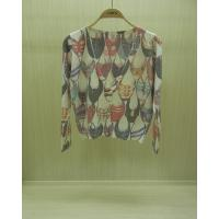 China Long Sleeve Ladies V Neck Sweaters Printed Fine Knit with for Adult wholesale
