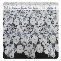 Buy cheap Mesh polyester lace Fabric White Flower Embroidered Lace material for girls from wholesalers