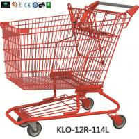 China Red Powder Coating Small Metal Shopping Carts For Seniors / Grocery Shopping Trolley wholesale