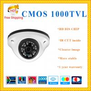 China DIS CHIP 1000TVL CMOS camera with IR-CUT weatherproof Dome security Camera 24 IR LED indoor outdoor CCTV Camera wholesale