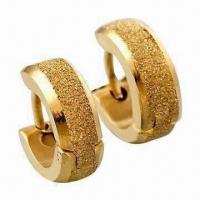 China Hoop Earrings, Made of Titanium and 316L Steel, with 18K Gold Plating wholesale