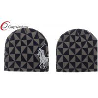 Quality Grey Jacquard Logo Skiing Winter Hats Beanie With Fleece Lining Inside for sale