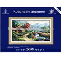 China beautiful village scenery hand embroidery design needlework for home decoration wholesale