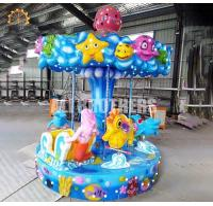 China Safety Fairground Carousel Horses  , Indoor Amusement Park Rides Mini 6 Seats on sale
