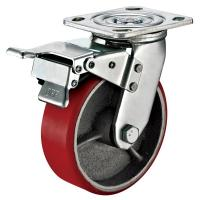 Small Red Caster Wheels / Heavy Duty Locking Swivel Casters With Plate Fitting for sale