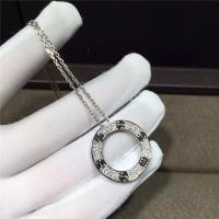 China 18K White Gold Cartier Love Necklace , Real Diamond Paved 18k White Gold Necklace wholesale