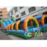 China Fun Jungle Troplical Long Inflatable Water Slide Giant Double Lane For Rental wholesale
