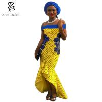 China Fashionable African Wear Dresses Slash Neck Ruffles For Women Party Dresses wholesale