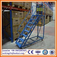 China Made in China Safe Heavy Duty Foldable  Steel Warehouse Rolling Ladder/Stairs for Sale wholesale