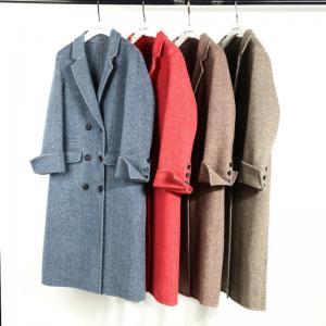 China Blue herringbone alpaca double sided wool 10cm herringbone women's overcoat hot sale cheap wholesale
