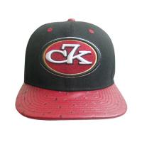 China Red Ostrich Leather Peak Snapback Baseball Caps With 3D Embroidery wholesale