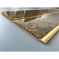 China 7mm Thickness Ceiling PVC Panels With Two Golden Lines Non Flammable Features  wholesale