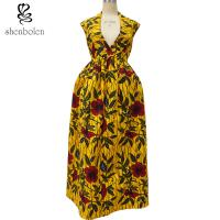 China Sexy African Print Dresses Sleeveless Deep V neck African Designs Long Dress wholesale