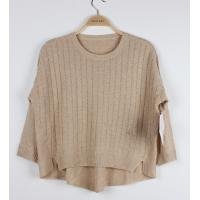 China Loose Jacquard Sweater for Ladies Plaid Back Cindy Beige Batwing Sleeve wholesale
