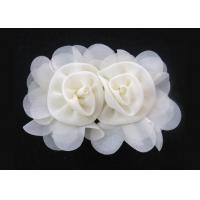 China Apricot 120D Chiffon Handmade Artificial Fabric Flower Corsage For Hair Accessories on sale