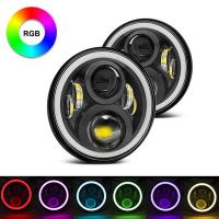 China 7 Inch Round RGB Halo Car Lights Bluetooth Control Headlights High / Low Beam For Driving Light wholesale