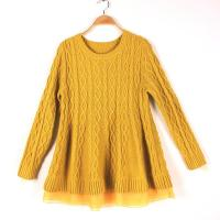 China Long Sleeve Girl's Jacquard Sweaters Pullover Round Neck Cable Knits wholesale