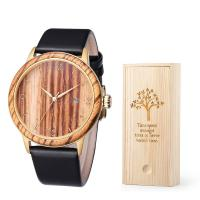China Custom Bamboo Wooden Quartz Watch Leatcher Strap 3/5 ATM Waterproof For Men on sale