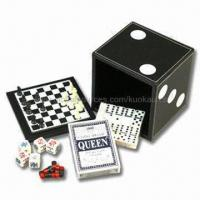 China 5-in-1 Game Set, Includes Chess, Checker, Backgammon, Domino, Poker Dice and Playing Cards on sale