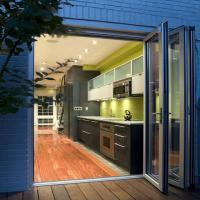 China AS2047 Aluminum Glass Entry Door Exterior Double Glazing Glass With Louvers on sale