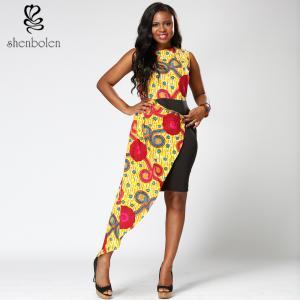 China Dashiki style  African Print  Dress midi length round collar  Mosaic  100% wax cotton wholesale