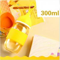 China Free BPA Newborn Baby Glass Water Bottle For Girls With Silicone Handle wholesale