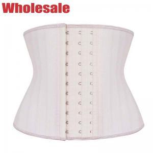 China White Short Torso Waist Trainer 9 Boned Latex Steel Boned Waist Training Corset wholesale