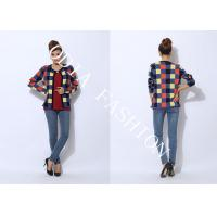 China Cardigan Ladies Crew Neck Sweaters Printed Grid Pattern Show Pretty Nifty wholesale