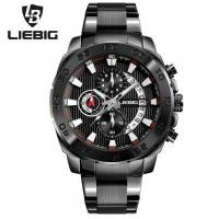 China Wholesale LIEBIG  Fashion Business Sport Men Multifunction Chronograph Steel Strap Luminous Quartz Wrist Watches  S204 wholesale