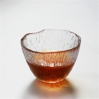 Quality Lead Free 100ml Clear Retro Tree Pattern Glass Teacup for sale