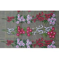 China Romantic 3D Flower Embroidered Tulle Lace Fabric , Embroidered Net Fabric Cloth wholesale