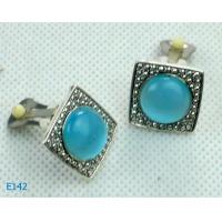 China Small fashion pink bead Zirconia Stud Earrings Metal Casting Jewelry wholesale