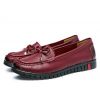 China Embossed Top Ladies Loafer Slip On Shoes Grain Leather With Red Bowknot wholesale