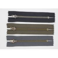 China Automatic High End Metal Teeth Zipper Semi Slide Delicate Ykk Teeth Brown / Black Tape wholesale