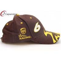 Quality Flame Embroided Cotton Racing Baseball Caps Velcro Strap Hats For Spring for sale