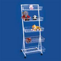 China Multifunctional White Metal Display Rack floor standing stackable wire shelves for retail wholesale