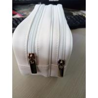 Quality White Women's PU Leather Toiletries Travel Cosmetic Bags 2 Pockets 20*15*CM for sale