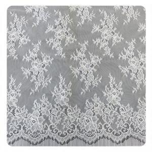China 100% Nylon Ivory Floral Scalloped Edged Chantilly Lace Wedding Dress Customized wholesale