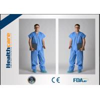 China Children Disposable Scrub Suits Blue/Dark Blue Nonwoven For Cleaning Room wholesale