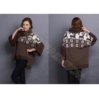 China Autumn Wool Women Jacquard Sweaters Turn Down Neck , Snowflake Ladies Loose Pullover wholesale