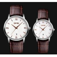 China 2017 New Skmei Love Story Romatic Fashion Simple Genuine Leather Strap Quartz Couple Wrist Watches 9130 wholesale