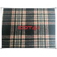 China Vintage Flannel One Sided Medium - Large 8cm Plaid/Tartan Black Wool Fabric wholesale