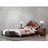 China American leisure style Split Leather Upholstered Headboard Kind Bed with Wooden Furniture for Villa house Bedroom used wholesale